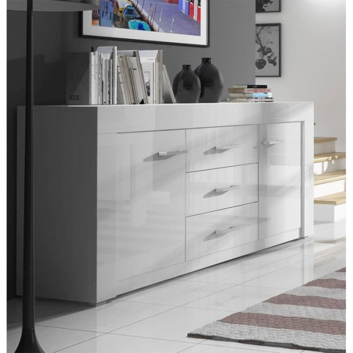 buffet bahut moderne laqu et bois blanc layos blanc. Black Bedroom Furniture Sets. Home Design Ideas