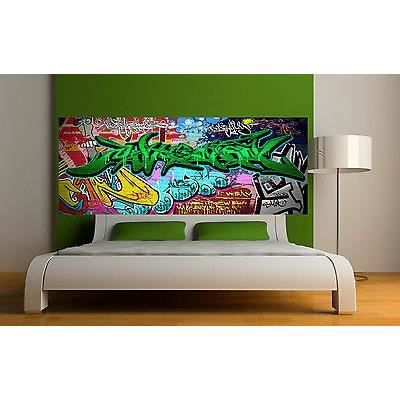 Sticker t te de lit d coration murale graffiti 2 r f 3675 for Tete de lit murale