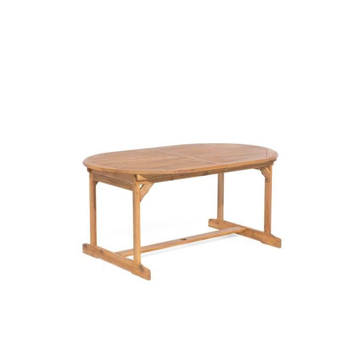Table de jardin ovale extensible 160/220 x 100 cm en bois ...