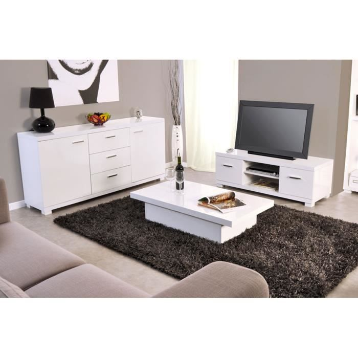 Ensemble meuble tv table basse buffet blanc achat for Ensemble salon blanc