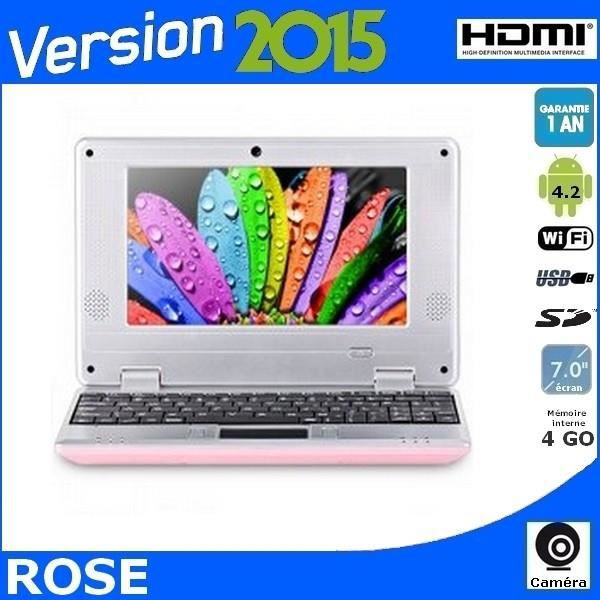 netbook rose cran 7 android 4 2 hdmi cam ra wifi prix pas cher cdiscount. Black Bedroom Furniture Sets. Home Design Ideas