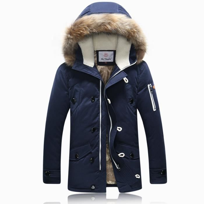 parka homme longue veste doudoune homme avec co bleu marine achat vente parka cdiscount. Black Bedroom Furniture Sets. Home Design Ideas