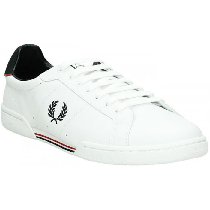 Tennis basses cuir B7222 Fred Perry en blanc pour homme