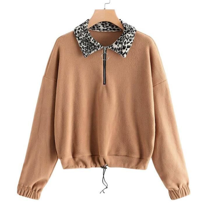 Chaud Hiver Zip Kaki Femmes Sweat Casual Up Taille overs shirt Plus Fluffy Pull Outwear IxOqUEXq