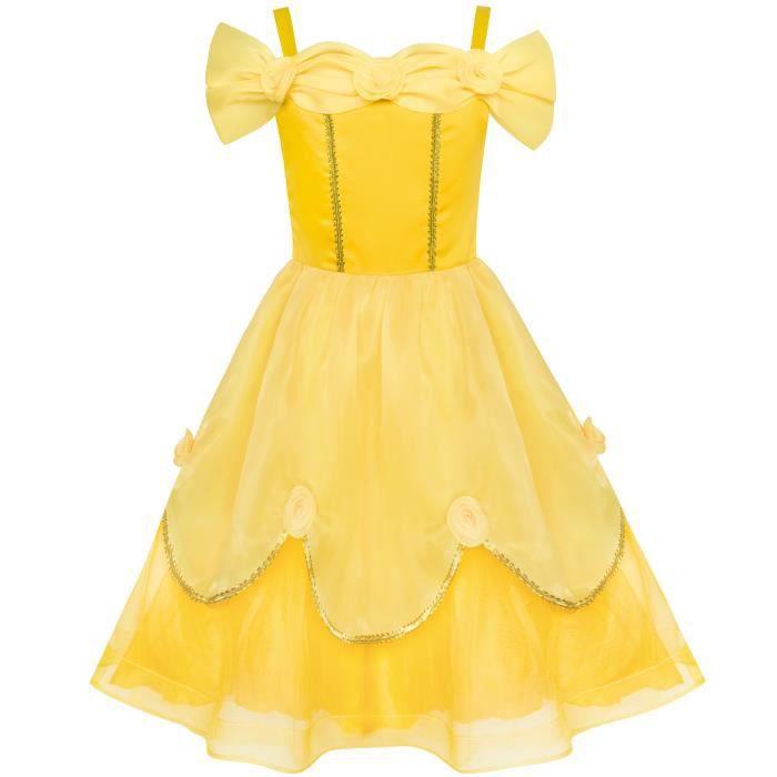 Audacieuse Sunny Fashion Robe Fille Jaune Princesse Belle Costume Fête d BD-37