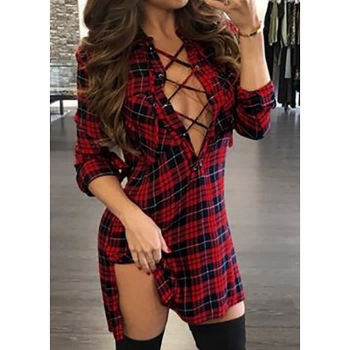 Robe femme check one piece mode