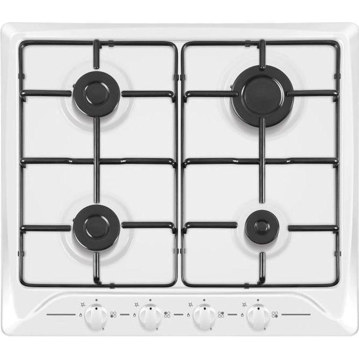 HUDSON HTG 640 B Plaque de cuisson gaz - 4 foyers - L 60 cm - Revetement email - Inox