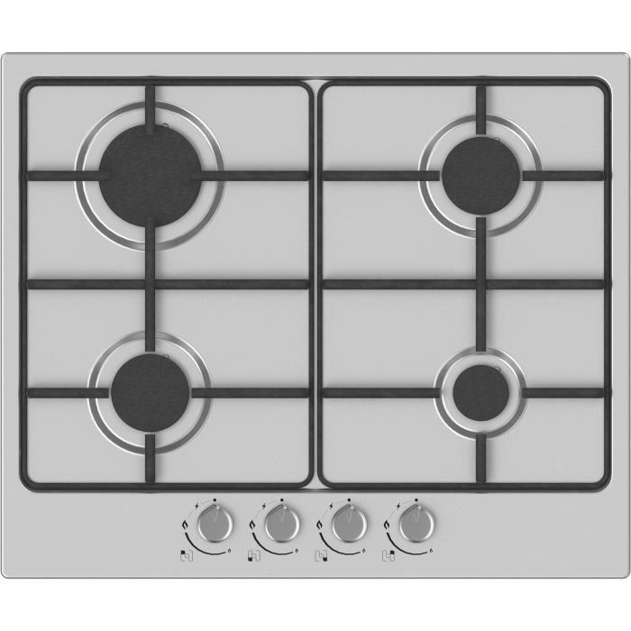 HUDSON HTG 640 I Plaque de cuisson gaz - 4 foyers - L 60 cm - Revêtement email - Inox