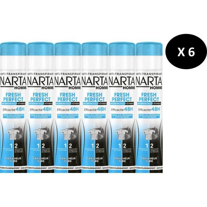 NARTA Déodorants Homme Perfect Spray - 200 ml - Lot de 6