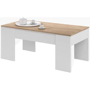 TABLE BASSE Table basse relevable style contemporain blanc art