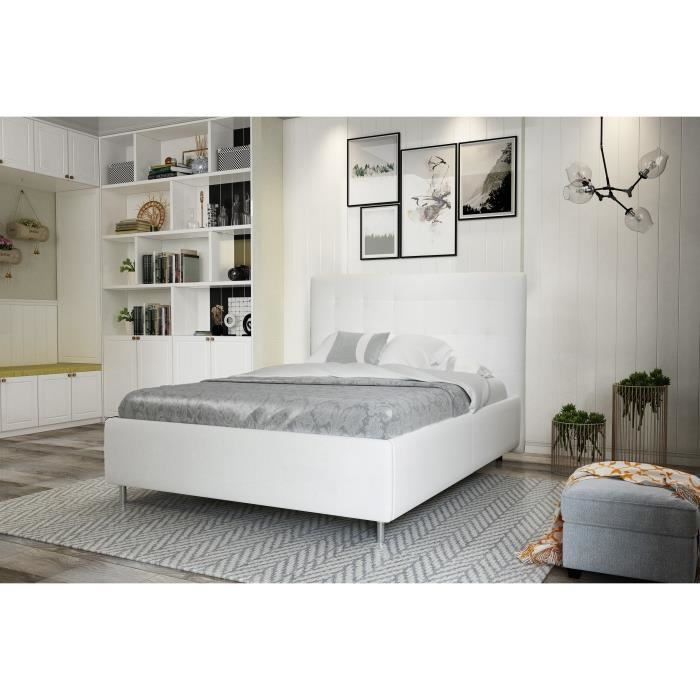 finlandek lit adulte contemporain en simili blanc l 140. Black Bedroom Furniture Sets. Home Design Ideas