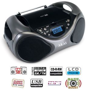 RADIO CD CASSETTE AKAI AB-40K Scorpio Lecteur CD portable USB MP3