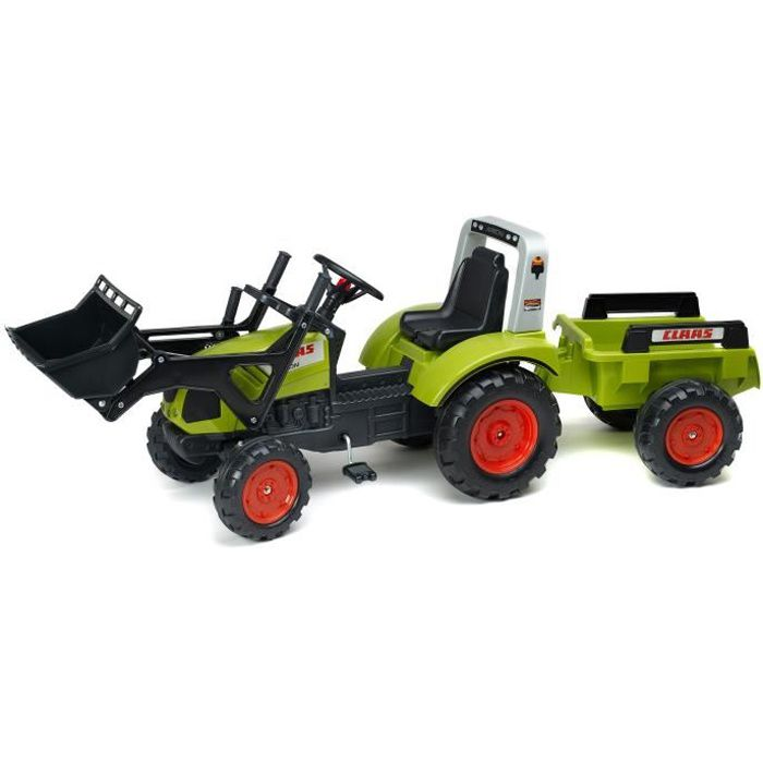 falk tracteur p dales vert claas avec remorque achat. Black Bedroom Furniture Sets. Home Design Ideas