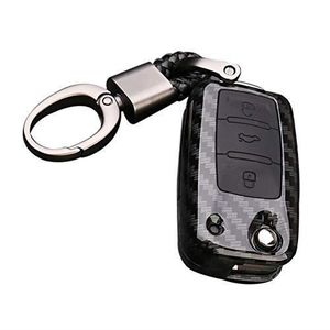 Silicone Cas de Couverture de Cl/é de Voiture Porte-cl/és pour Nissan 3 Boutons Noir Happyit ABS Coque en Fibre de Carbone Shell