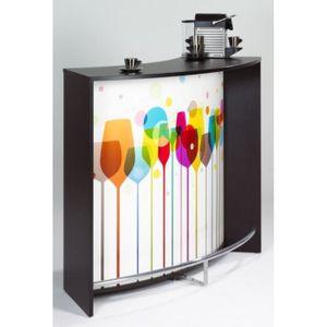 MEUBLE BAR Meuble Bar 2 Portes Noir - Coloris - Verres 941