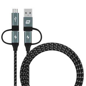 CÂBLE TÉLÉPHONE 4 en 1 Type C à Micro USB et Type C à USB A Sync D