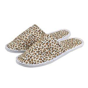CHAUSSON - PANTOUFLE [Yellow Leopard] 10 paires de pantoufles jetables