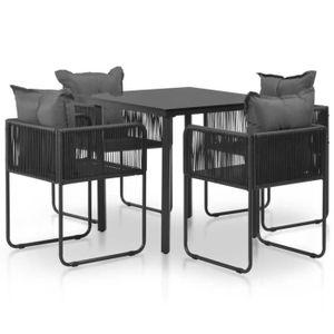 SALON DE JARDIN  Mobilier de jardin 5 pcs :1 table+4 chaises avec c