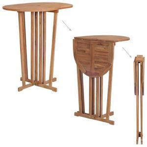 TABLE À MANGER SEULE Table de bar pliable Bois de teck massif 100x65x10