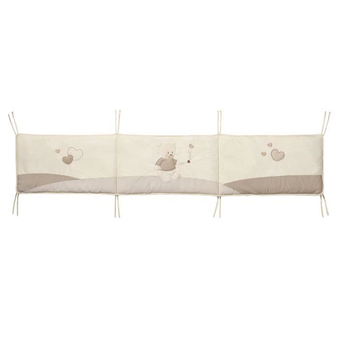 tineo tour de lit ourson ecru et taupe achat vente. Black Bedroom Furniture Sets. Home Design Ideas