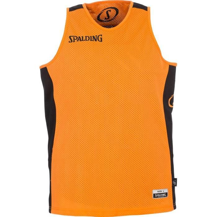 SPALDING Maillot de basket Homme - Réversible Noir / Orange