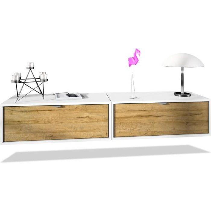 Ensemble de 2 set meuble TV Lana 80 armoire murale lowboard 80 x 29 x 37 cm, caisson en blanc mat, façades en Chêne Nature