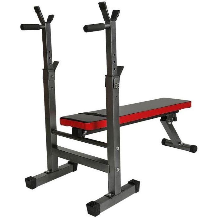 Banc de Musculation Pliable Réglable avec Support de Barres pour Haltère