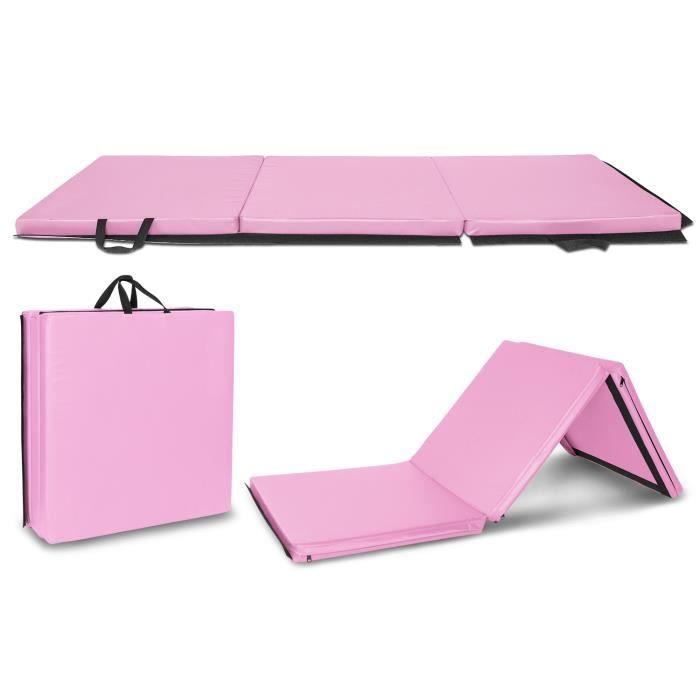 Bonnlo Tapis de Sol 240cm pour Gymnastique et Fitness, Matelas de Gym Épais et Pliable pour la Maison 60 x 60 x 15CM Rose