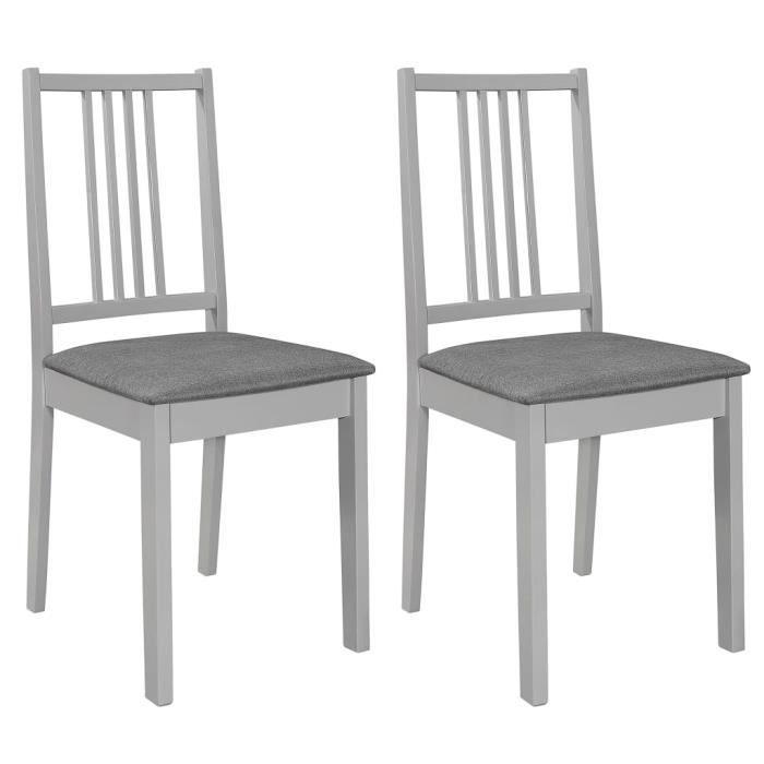XIXI 2 pcs Chaises à dîner avec coussins Gris Bois solide