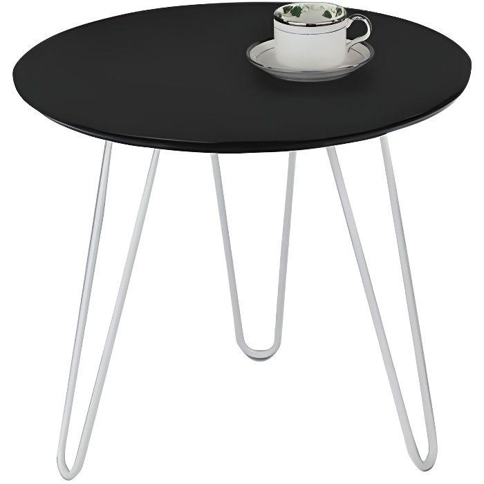 Six - Table basse ronde plateau bois noir pieds métal blanc