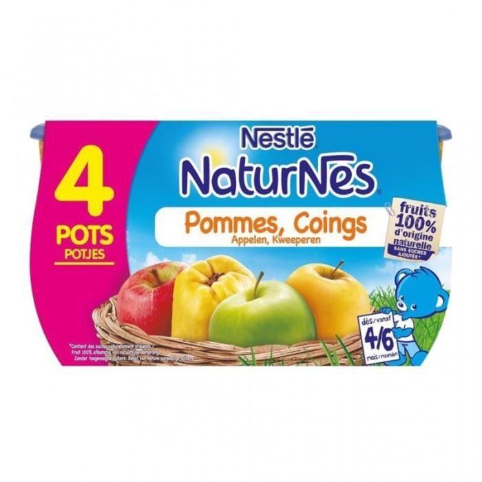 Nestlé Naturnes Pommes Coings (dès 4-6 mois) par 4 pots de 130g (lot de 6 soit 24 pots)