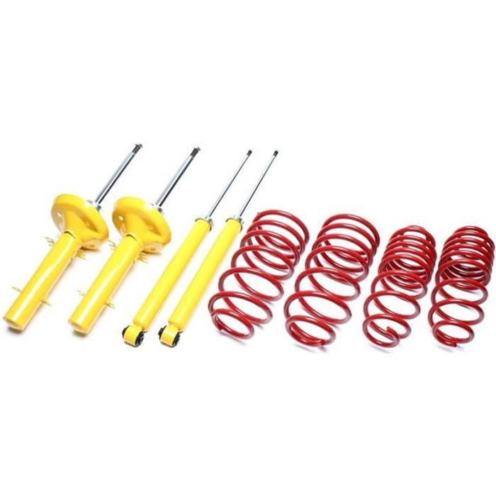 Kit suspension amortisseurs + ressorts pour Peugeot 306 type XU5 - XU7 de 03-1993 a 2001 en rabaissement avant 40mm, pour motoris...