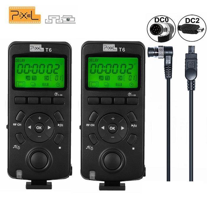 Pixel 2PCS sans Fil déclencheur minuterie Transceiver Télécommande 2.4GHz écran LCD(Version Mise à Niveau de TW-283 pour Nikon D8