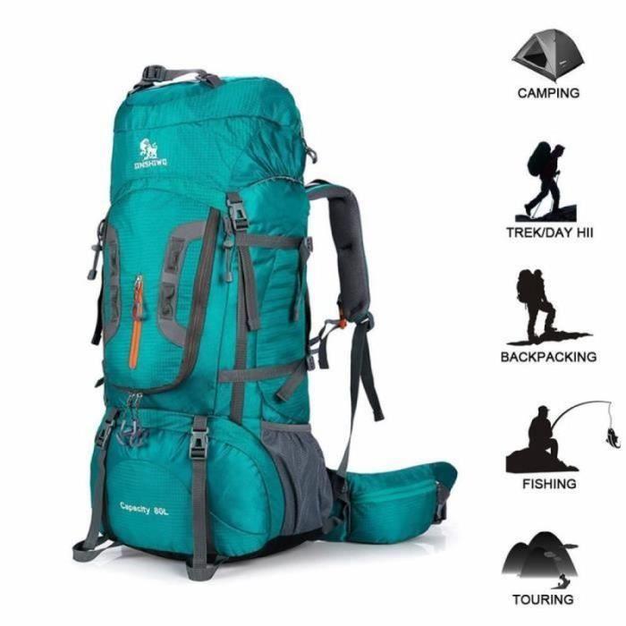 80L tactique sac à dos étanche voyage randonnée sac à dos camping en plein air sac à dos sac de sport d'escalade