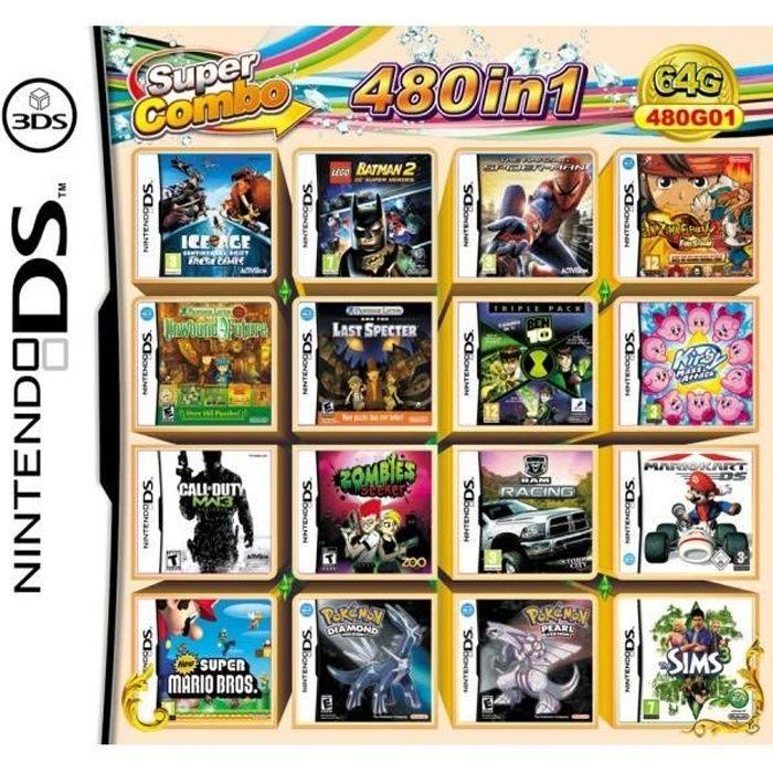 480 Jeux en 1 NDS Jeu Lot Carte Super Combo Cartouche pour DS 2DS New 3DS XL (LEGO Batman 2 Amazing Spider-Man Kirby Mass Attack)