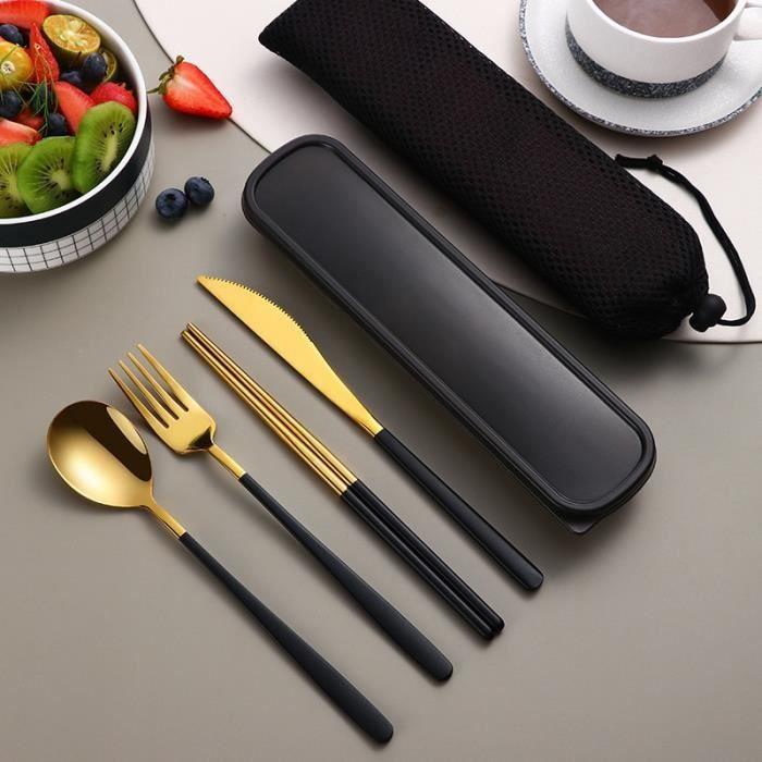 Couleur Rainbow 4 ensembles Couverts Noirs en acier inoxydable, 16 pièces, Vaisselle Noire, Fourchette, Cuill