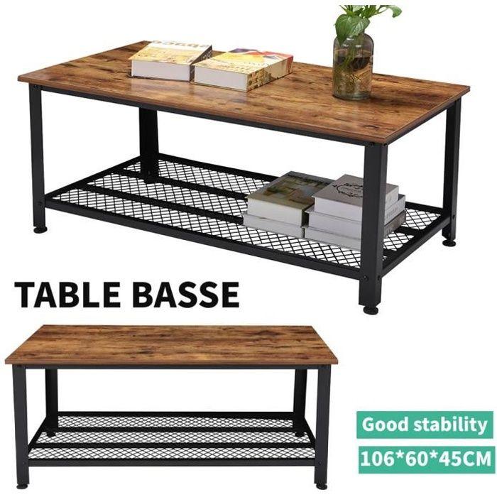 Table basse - Armature en métal - Industriel - 2 étagère Table basse design industriel bois et métal noir HB010