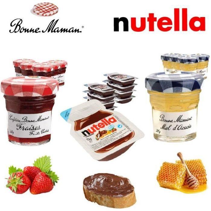 Pack Nutella / Bonne Maman : confitures de fraise, miel d'acacia et nutella barquettes (210)