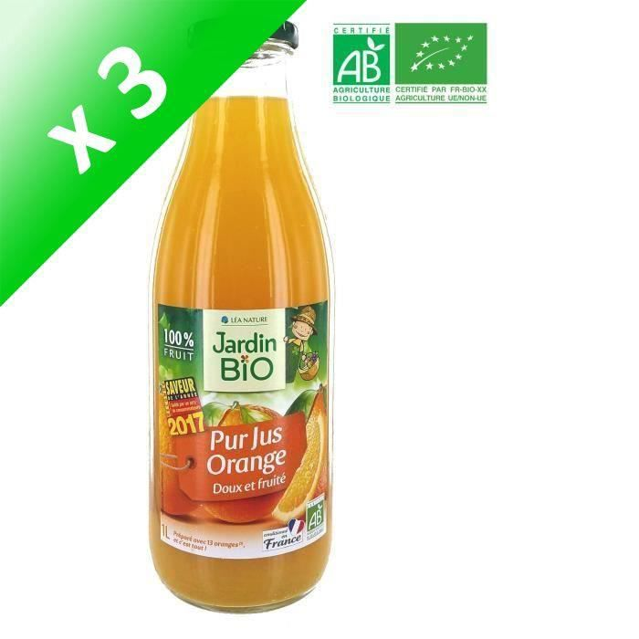 MARQUE NATIONALE Pur jus d'Orange Bio - Conditionné en France (Lot de 3x 1 L)