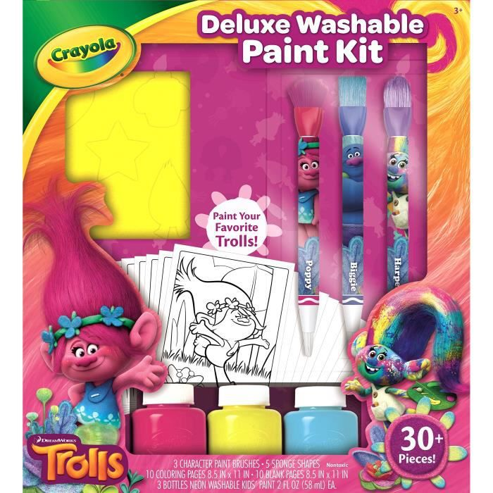 CRAYOLA Trolls Deluxe Kit de peinture lavable AV4EG