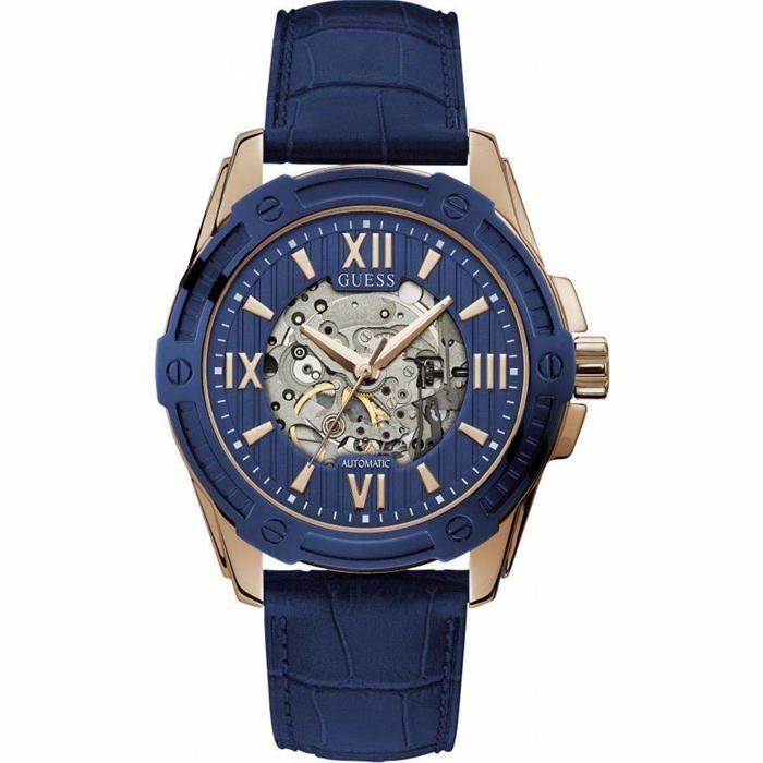GUESS Homme 45mm Bracelet Cuir Bleu Automatique Analogique Montre W1308G3