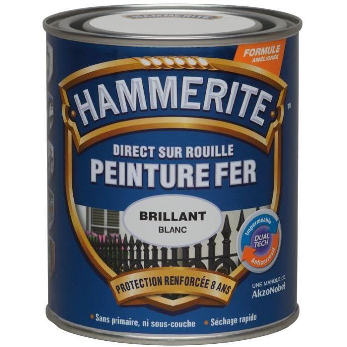 Peinture hammerite fer brillant laqué 0.75 L - blanc