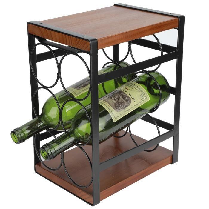 SIB Casier à Vin en Fer Créatif, Étagère à Bouteille, Contenir 6 Bouteilles de Vin, adapté à la Maison