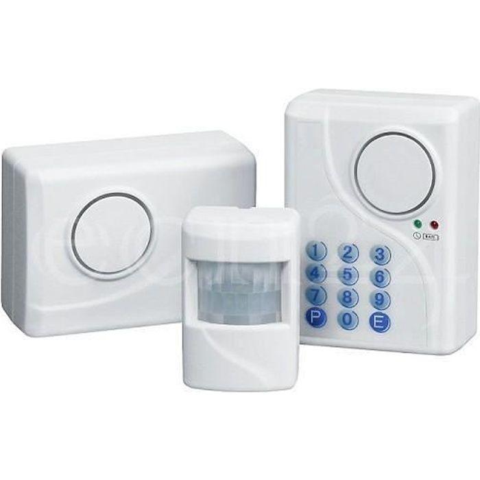 Système d'alarme avec détecteur de mouvement Idéal pour plus petits objets Protégé contre sabotage et alimenté par piles