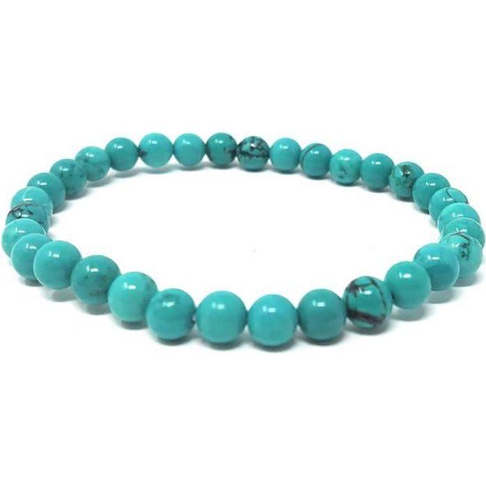 Bracelet Howlite teintée turquoise - Adulte -Pierres naturelles -Lithothérapie -Bienfaits -Vertus -Idée cadeau -Soulage et apaise