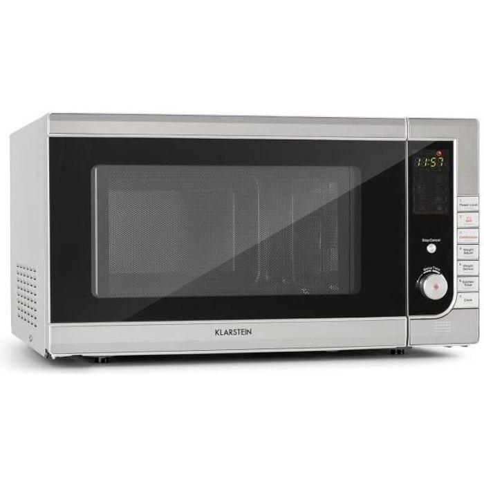 Klarstein CombiWave Four micro-ondes 43 litres 1000W - grill 1300W - 11 niveaux de puissance - Ecran LED - Inox