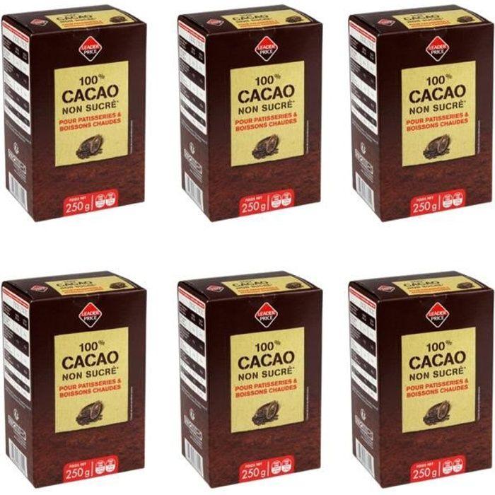 [Lot de 6] Cacao en poudre non sucré - 250g par paquet