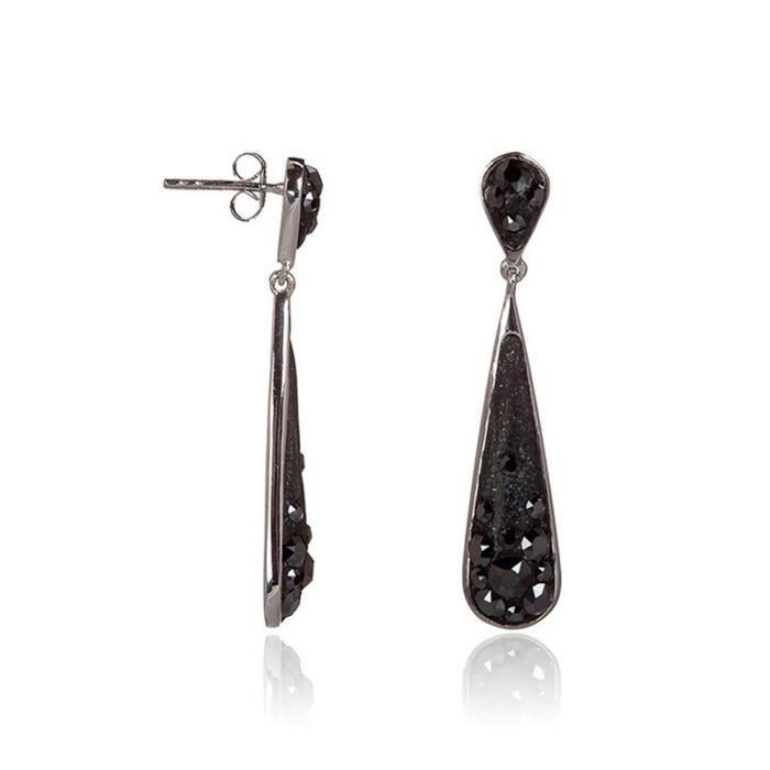 Mes-bijoux.fr - Boucles d'oreilles Femme Métal Noir et ornée de Cristaux de Swarovski Element - WEI38N987gv