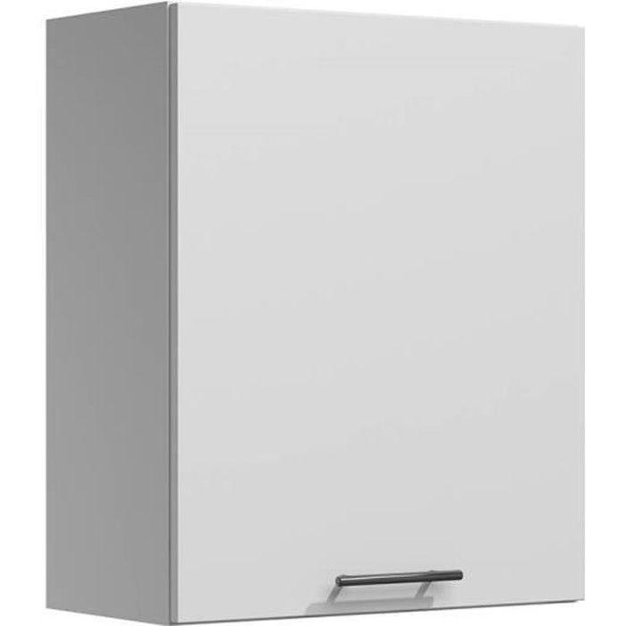 LILA - Meuble de cuisine haut 60 cm 1 porte blanc