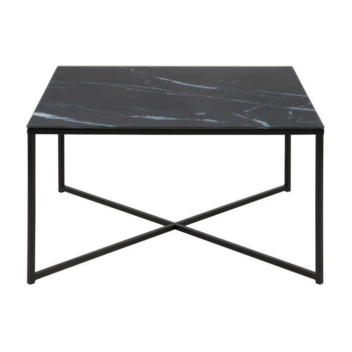 Miliboo - Table basse effet marbre noir ALCINO